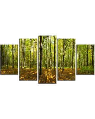 Design Art 'Green Autumn Forest Panorama' Photographic Print Multi-Piece Image on Canvas EAOU4574