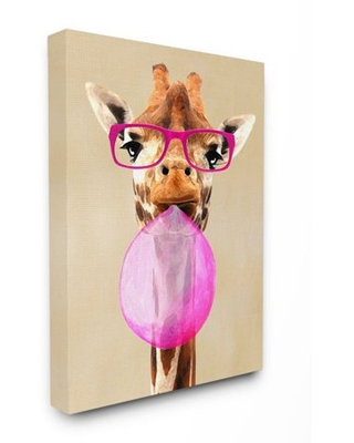 The Stupell Home Decor Collection Giraffe With Bubblegum and Pink Glasses Canvas Wall Art