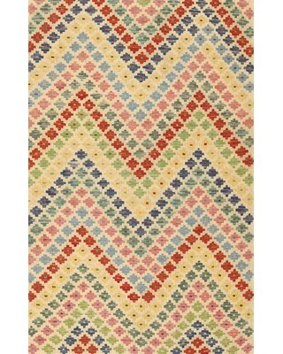 Contemporary Red/Blue/Beige Area Rug
