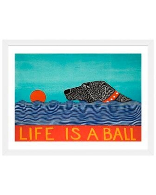 """East Urban Home 'Life Is a Ball Black' by Stephen Huneck - Graphic Art Print FCOM5339 Size: 24"""" H x 32"""" W x 1"""" D Format: White Framed Paper"""