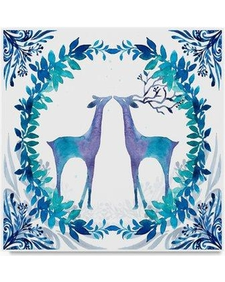 """Trademark Fine Art 'Winter Tales Deer' Graphic Art Print on Wrapped Canvas ALI20997-C Size: 35"""" H x 35"""" W"""