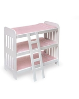Triple Doll Bunk Bed with Ladder, Bedding, and Free Personalization Kit - Pink Gingham Badger Basket