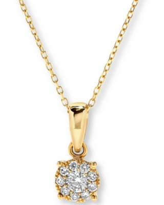 Diamond Halo Cluster Pendant Necklace (1/4 ct. t.w.) in 14k Gold