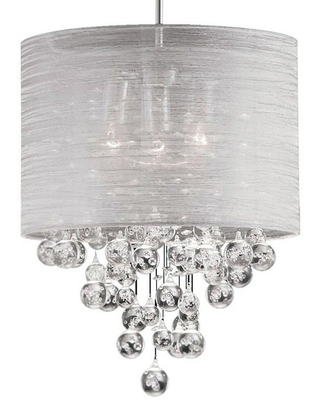 Dainolite Tahnee 3-Light Polished Chrome Pendant with Organza Shades