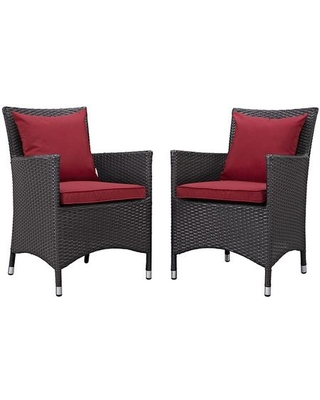 Convene Collection EEI-2188-EXP-RED-SET 2 PC Outdoor Patio Dining Set with Fabric Cushions Water Resistant Powder Coated Aluminum Frame and