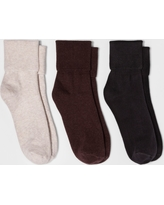 Women's 3pk Mary Jane Fold Over Cuff Socks - A New Day Brown Heathers One Size, Fancy Heather