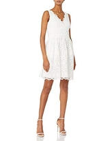 Adrianna Papell Women's Illusion Neckline Lace Dress, Ivory, 2