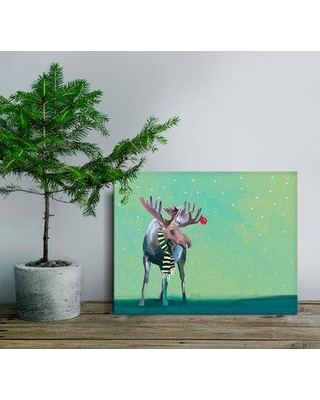 """Oopsy Daisy Moose in the Snow Framed Painting Print NB5558 Size: 14"""" H x 18"""" W x 1.5"""" D"""