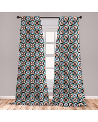 Ambesonne Moroccan Curtains, Mosaic Circular Pattern Arrow Shapes Marrakech Inspired Design Abstract Motifs, Window Treatments 2 Panel Set For Living