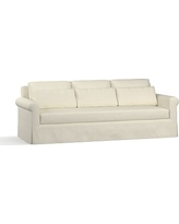 "York Roll Arm Slipcovered Deep Seat Grand Sofa 98"" with Bench Cushion, Down Blend Wrapped Cushions, Premium Performance Basketweave Ivory"