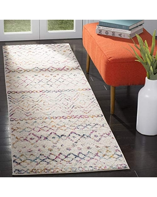 """Safavieh Madison Collection MAD798A Moroccan Boho Distressed Runner, 2' 3"""" x 12', Ivory/Fuchsia"""