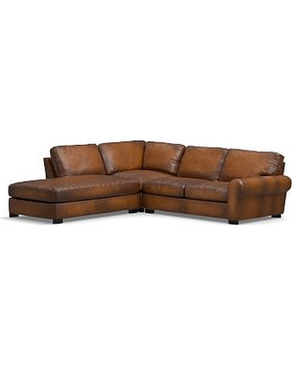 Turner Roll Arm Leather Right 3-Piece Bumper Sectional, Down Blend Wrapped Cushions, Burnished Bourbon