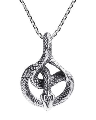 Unique Detailed Coiled Snake Sterling Silver Necklace (Thailand) (White - 18 Inch)