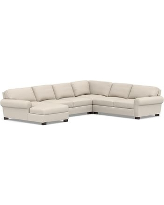 Turner Roll Arm Upholstered Right Arm 4-Piece Chaise Sectional, Down Blend Wrapped Cushions, Performance Brushed Basketweave Oatmeal