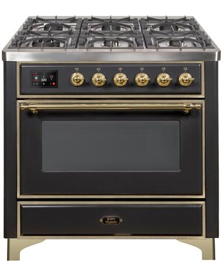 """UM09FDNS3MGG 36"""" Majestic II Series Dual Fuel Natural Gas Range with 6 Burners and Griddle 3.5 cu. ft. Oven Capacity TFT Oven Control Display"""