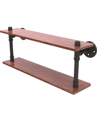 Allied Brass Pipeline Collection 22 in. Ironwood Double Shelf in Oil Rubbed Bronze
