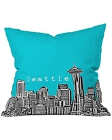 """Deny Designs Bird Ave Seattle Throw Pillow 13612/13613-thr Size: 16"""" x 16"""", Color: Teal"""