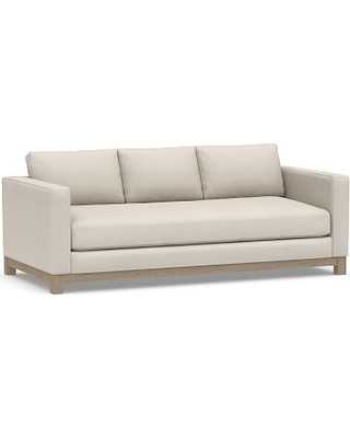 """Jake Upholstered Sofa 85"""" with Wood Legs, Polyester Wrapped Cushions, Performance Twill Stone"""