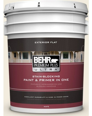 BEHR Premium Plus Ultra 5 gal. #PPU7-13 Coastal Beige Flat Exterior Paint and Primer in One