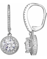 Primrose Sterling Silver Cubic Zirconia Halo Drop Earrings, Women's, Grey