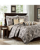 Black Wellington Jacquard Quilt Set (King/California King) 6pc
