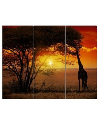 Design Art 'Typical African Sunset with Giraffe' 3 Piece Photographic Print on Wrapped Canvas Set PT12297-3P