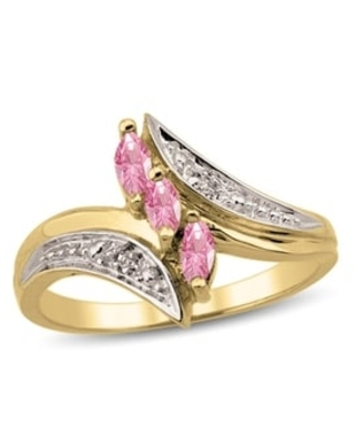 10K Yellow Gold Genuine Bypass Birthstone Ring with Diamond Accents (Pink - October - Pink - 9 - H - Tourmaline - Pink)