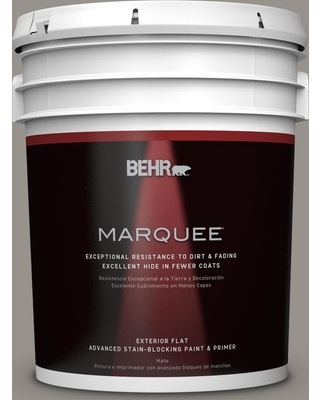 BEHR MARQUEE 5 gal. #PPU18-16 Elephant Skin Flat Exterior Paint and Primer in One