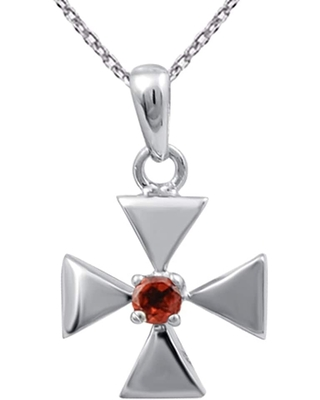 Garnet Sterling Silver Round Solitaire Pendant by Orchid Jewelry (Red - Garnet)