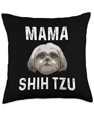 Best Pup Breed & Little Lion Fur Floppy Presents Funny Shih Tzu Gift For Mom Mother Dog Puppy Owner Animal Throw Pillow, 18x18, Multicolor