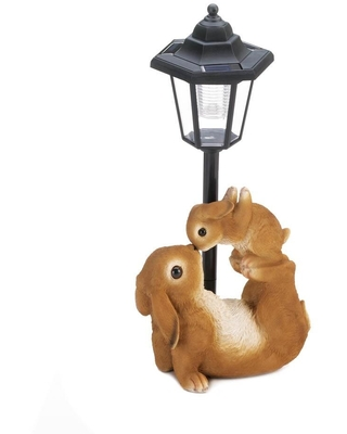 Antique Adorable Mom and Baby Rabbit Solar Lamp