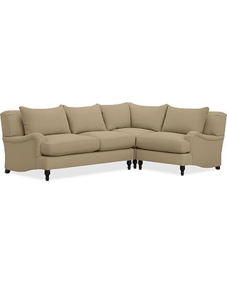 Carlisle Upholstered Left Arm 3-Piece Corner Sectional, Polyester Wrapped Cushions, Performance everydaysuede(TM) Light Wheat