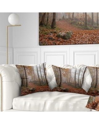 Designart 'Autumn Forest in Germany' Landscape Photography Throw Pillow (Square - 18 in. x 18 in. - Medium)