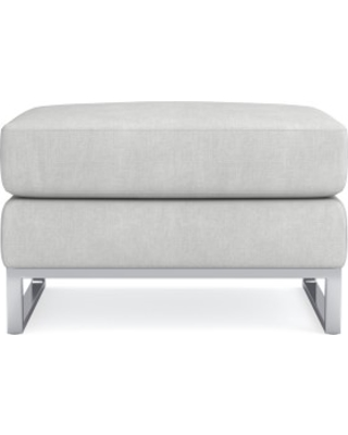 Paxton Ottoman, Chunky Linen, White, Polished Nickel