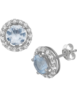 6mm Round-Cut Aquamarine Halo Earrings in Sterling Silver, Girl's