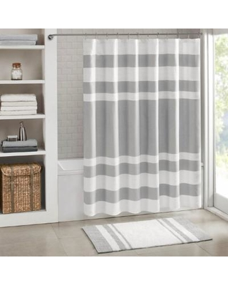 "Madison Park Spa Waffle 72x84"" Shower Curtain w/ 3M Treatment in Grey - Olliix MP70-4983"