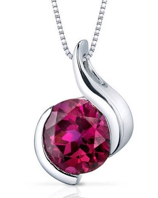 """2.75 ct Round Red Created Ruby Pendant Necklace in Sterling Silver, 18"""""""