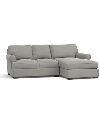 Townsend Roll Arm Upholstered Left Arm Sofa with Chaise Sectional, Polyester Wrapped Cushions, Performance Everydaysuede(TM) Metal Gray