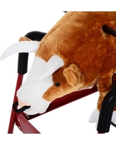 Qaba Kids Plush Spring Rocking Horse Style Rodeo Bull with Realistic Sounds