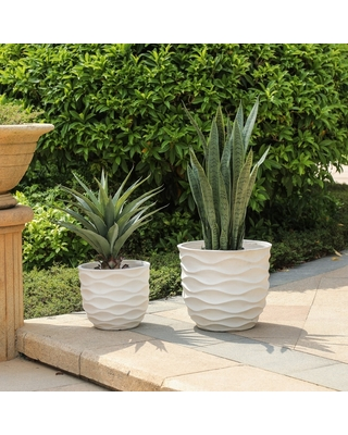 Deals On Kayu 2 Piece Wavy Design White Mgo Planters By Havenside Home White