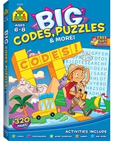 School Zone - Big Codes, Puzzles & More Workbook - Ages 6 to 8, Kindergarten, 1st Grade, 2nd Grade, Crossword Puzzles, Games, Riddles, Word Searches, and More (School Zone Big Workbook Series)