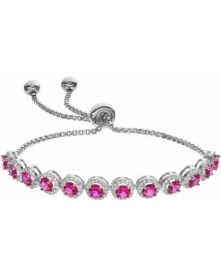 Sterling Silver Lab-Created Ruby & Cubic Zirconia Bolo Bracelet, Women's, Red