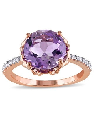 Miadora 10k Rose Gold Amethyst and 1/10ct TDW Diamond Ring (G-H,I2-I3) (10)