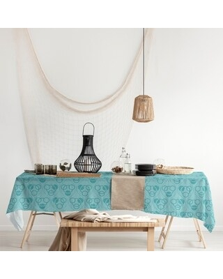 Monochrome Circles & Waves Rectangle Tablecloth - 58 x 102 (Teal)