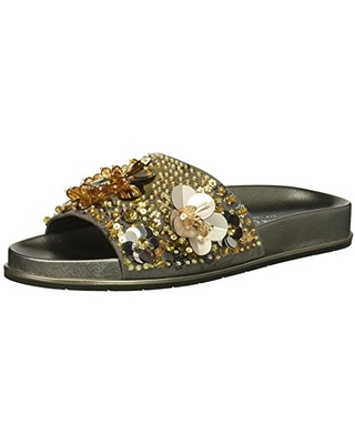 Kenneth Cole New York Women's Xenia Embellished Pool Slide Sandal, silver/gold, 5 M US