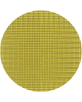 East Urban Home Abstract Wool Yellow Area Rug X113616582 Rug Size: Round 4'