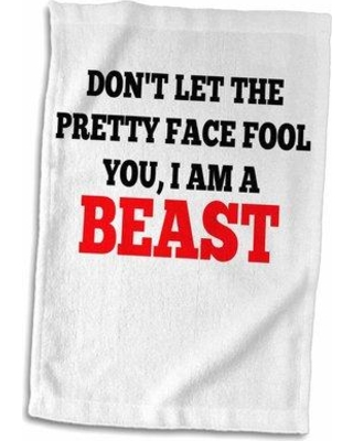 Big Deal On Symple Stuff Cronan Dont Let The Pretty Face Fool You I Am A Beast Hand Towel Cotton Blend In Red Black Size 22 W X 15 D Wayfair
