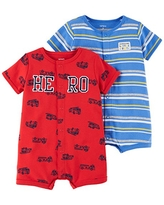 Carter's Baby Boys' 2-Pack Snap-up Romper, Hero/Dog, 3 Months
