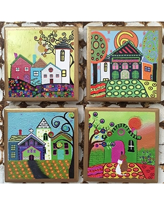 Coasters! Whimsical house coasters with gold trim