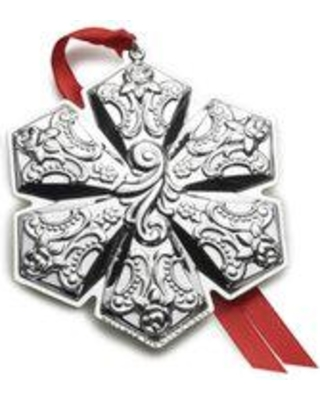 """Wallace Grande Baroque Snowflake Holiday Shaped Ornament, Sterling in Silver, Size 3""""H X 3""""D 